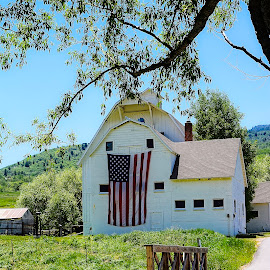 American Farmhouse by Emily Harrison - Buildings & Architecture Public & Historical ( farm, mcpolin farm, flag, america, utah, patriotic, farmhouse, park city,  )