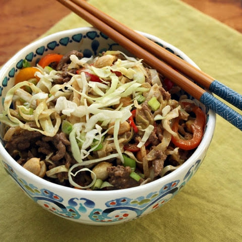 Stir-fried Beef And Cabbage With Spicy Peanut Sauce