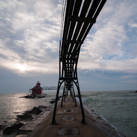 Sturgeon Bay Catwalk And Light #2 by Jebark Fineartphotography - Buildings & Architecture Public & Historical ( marine, catwalk, waterscape, navigation, breakwater, lighthouse, mariner, historical, jetty, beacon, maritime, light )