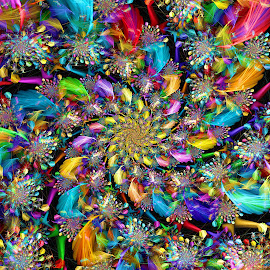 Feather Spiral by Peggi Wolfe - Illustration Abstract & Patterns ( décor, abstract, unique, pattern, bright, color, illustration, unusual, fun, fractal, digital, print )