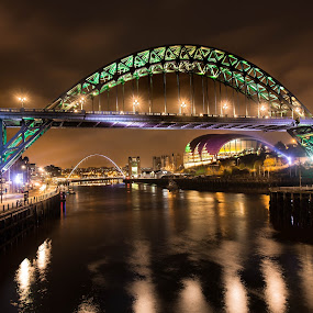 Tyne Bridge at night by Davey T - City,  Street & Park  Historic Districts ( sage, river tyne, tyne, quayside, tyneside, gateshead, newcastle, tyne bridge )
