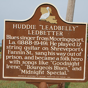 Blues singer from Mooringsport, La. (1888-1949). He played 12 string guitar on Shreveport's Fannin St., sang his way out of prison, and became a folk hero with songs like