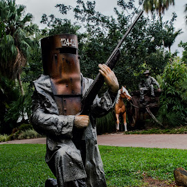 Ned takes the mail! by Andy Rigby - Artistic Objects Other Objects ( robbery, ned kelly, rustic, garden, mailbox, country )