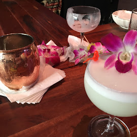 Hawaiian Beverages by Amber O'Hara - Food & Drink Alcohol & Drinks ( napkins, orchids, copper, flowers, bar, straws, drinks )