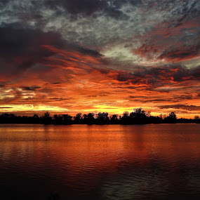 Scarlet Fever by Kathy Woods Booth - Landscapes Sunsets & Sunrises ( red, waterscape, sunset, creek, reflections, dusk )