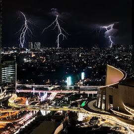 Lightning strikes over Jakarta by Pierre Tessier - City,  Street & Park  Skylines ( skyline, night photography, lighting strikes, light trails, long exposure, jakarta, nightscapes, nightscape )