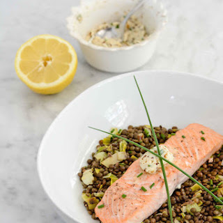 Salmon and Lentils with Herb-Mustard Butter