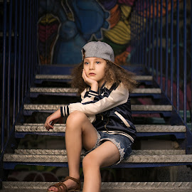 Urban Day Dream by Steven Jenkinson - Babies & Children Child Portraits ( portraiture, grafitti, fashion, stairs, kids fashion, children, sandals, children fashion, steps, fashion photography, portrait, kids portrait, street photography )