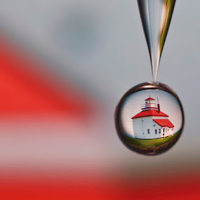 Red Roof by Connie Publicover - Artistic Objects Other Objects ( water, red, drop, white, lighthouse, falling, refraction )