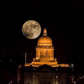 Moon over capitol by Deborah Murray - City,  Street & Park  Historic Districts ( moon, night, capitol, supermoon, historic, city )
