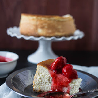 New York Style Cheesecake with Strawberry + Raspberry Sauce