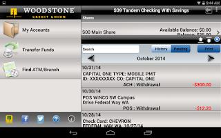 Screenshot of Woodstone CU Banking - Tablet