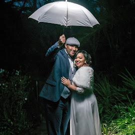 Under the umbrella by Charl Bence - Wedding Bride & Groom ( creative, wedding, umbrella, night, bride and groom )