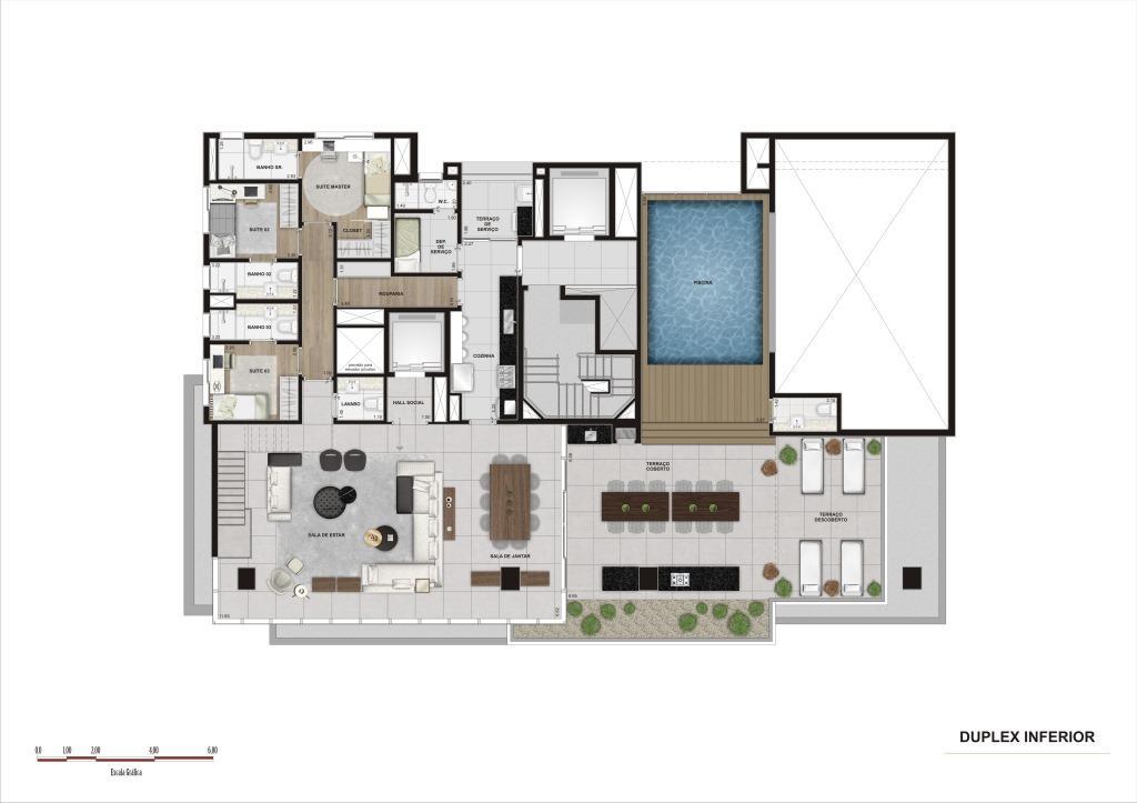 Planta  Duplex Inferior - 369 m²