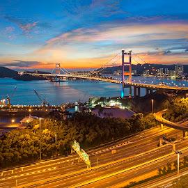 Sunset at Tsing Ma Bridge, Hong Kong by Rocco Sung - City,  Street & Park  Skylines ( hong kong, blue sky, lighting, nature, sunset, photographer, magic hour, bridge, landscape, flaming sky, photography )