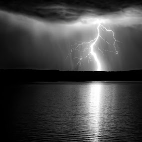 Light Bridge by Roch Hart - Landscapes Weather ( thunderstorms, water, mono-tone, b&w, black and white, bw, lake, monotone, landscape, night scape, lightning, new mexico, black and white, b and w, night, storms, nm, roch hart )