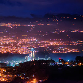 Cartago With The Cement Factory by Annette Flottwell - City,  Street & Park  Night ( ciudad, fog, catago, niebla, costa rica, fabrica del cimento, night, noche )