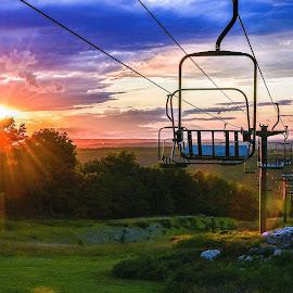 Ski Lift at Sunset by Diane Ljungquist - City,  Street & Park  Vistas