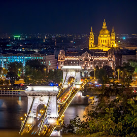 chain bridge in budapest at night by Mo Kazemi - Buildings & Architecture Other Exteriors ( chain bridge, budapest hungary, night, nightscape, cityscape, budapest, europe, hungary )