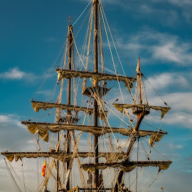 el galeon by Roberto Sorin - Transportation Boats ( galleon, galeon, ship, harbour, hull, 17th, spain, cannon, shroud, mast, rope, grand, valletta, armada, mizzenmast, mediterranean, rigging, andalucia, sail, deck, italy, maritime, replica, forecastle, sternpost, vessel, conquistador, spanish, authentic, seafaring, galley, vintage, nest, stern, century, boat, berthed, foremast, malaga, malta, mainmast, waterfront, nautical )