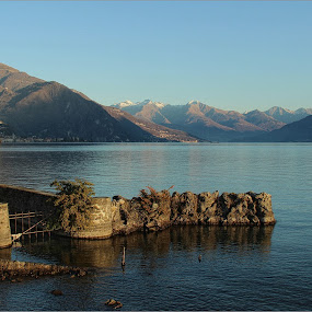 Lake Como, Italy by Carol Lauderdale - Landscapes Waterscapes ( mountains, snow, lake como, scenic, italy )