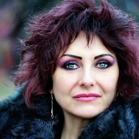 Beatrice by Alexandru Tache - People Portraits of Women ( model, wood, green, white, cute, portrait, eyes, love, winter, nature, tree, woman, artistic, light )