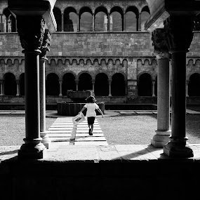 Sant Cugat Cloister by Joan Vega - Landscapes Travel ( gothic, b&w, street, cloister, day, sant cugat, light, running )
