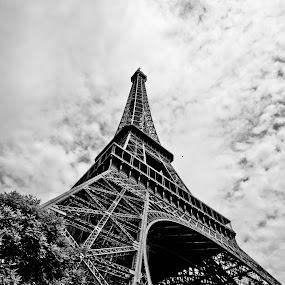 The Tower by Will Cardoso - Buildings & Architecture Statues & Monuments ( tower, sky, black and white, eiffel, cloud, france, monument )
