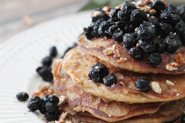 Vegan Lemon Banana Ricotta Pancakes With Dried Blueberry Compote ...