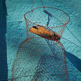 Basket of Light by Jon Kinney - Artistic Objects Antiques ( wire basket, rust )