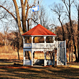 Two story Picnic Shelter by Dawn Moder - Buildings & Architecture Other Exteriors ( flag, red, park, shelter, white, trees, brown, woods )