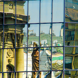 Reflections by Garry Dosa - Abstract Patterns ( mirrors, reflection, outdoors, summer, travel, architecture, people )