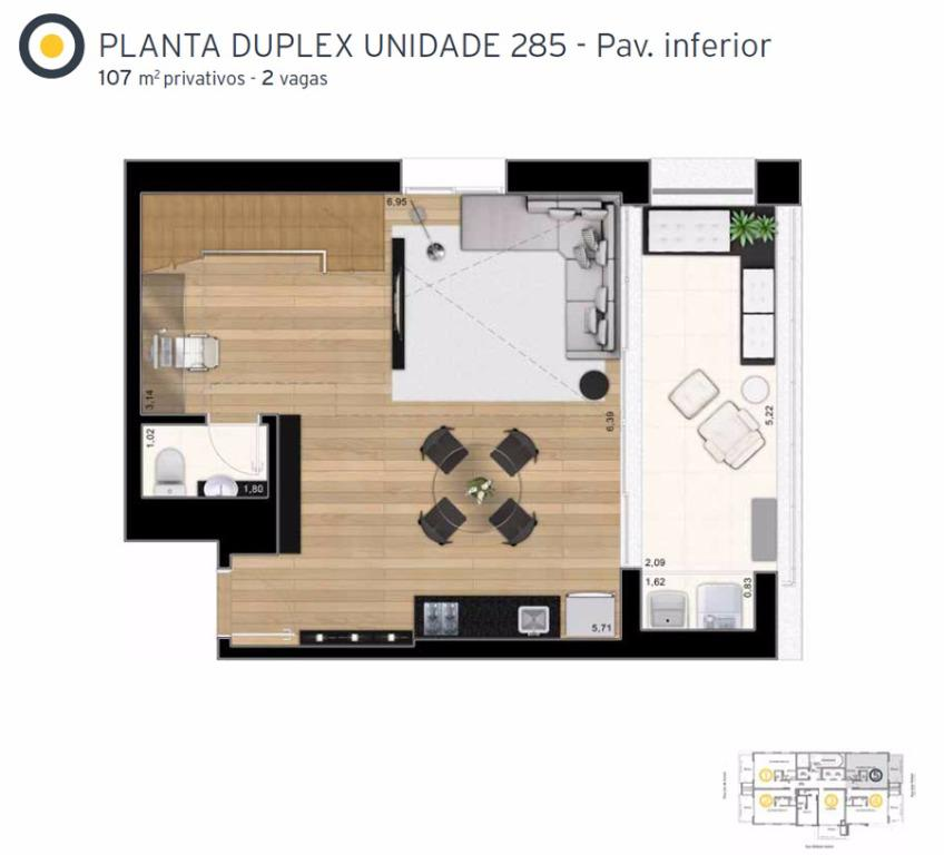 Planta Cobertura Duplex Inferior Final 5 - 107 m²