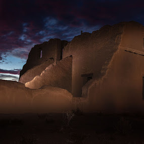 Fort Churchill at Sunset by Susan Koppel - Buildings & Architecture Decaying & Abandoned ( light painting, pony express, sunset, nevada, fort churchill, historic )