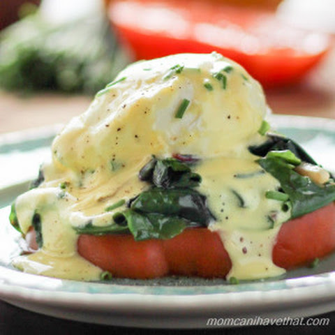 Heirloom Tomato and Swiss Chard Eggs Benedict