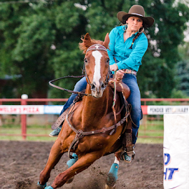 Happy Barrel Racer by Susan Elisabeth - Sports & Fitness Rodeo/Bull Riding ( barrel race, horse, sports, rodeo, race )