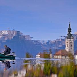 As above, so below by Kristina Babič - Transportation Boats ( slovenia, reflection, bled, lake, fisherman, boat )