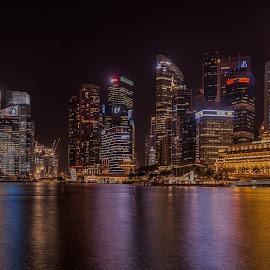 Singapore at Night by Gary Stanley - City,  Street & Park  Skylines ( skyline, night photography, panorama, singapore, nightscape )