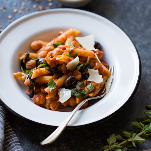 Spicy Tomato Chickpea Pasta with Olives and Greens {gluten-free, vegan option}