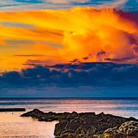 Golden Clouds Over Sea by Ynon Francisco - Landscapes Cloud Formations ( seascape, sunrise, breakwater, rocks, seaside, sunset, sea )