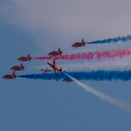 Smoke on....and roll by James Booth - Transportation Airplanes ( air show, display, smoke, planes, red arrows )