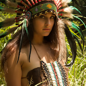 Native American Girl / Jackie 005 by Barry Blaisdell - People Portraits of Women ( sexy, model, nature, beautiful, indian, outoors, native american )