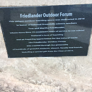 Friedlander Outdoor Forum This unique outdoor learning space was dedicated in 2016 in honor of beloved Greenhills science teachers Tom and Martha Friedlander, whose more than 75 combined years of ...