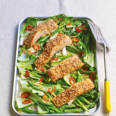 Roasted Sesame Salmon With Ginger And Chilli Pak Choi