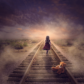 Alone by Sergiu Pescarus - Digital Art Things ( clouds, fantasy, child, railway, teddy bear, railroad )