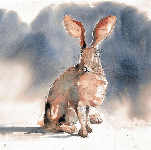 Animal art wildlife painting hare original watercolour