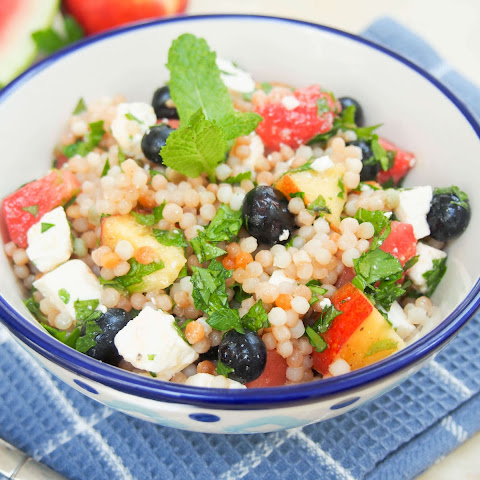 Fruit, herb and feta Israeli couscous salad