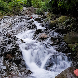 Water fall by Dhana Lakshmi - Nature Up Close Water ( #waterfall #traveling #mobilephotography #nature #indianphotos )