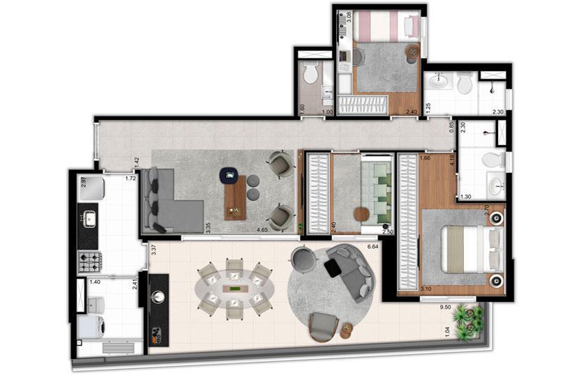 Planta de 102 m²