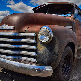 by Marco Bertamé - Transportation Automobiles ( clouds, old, bumber, vintage, chrome, 2750, number, rusty )